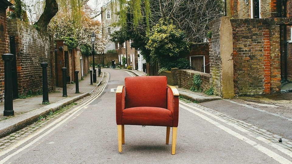 Chair, Couch, Furniture, Road, Sofa, Street, Whimsical