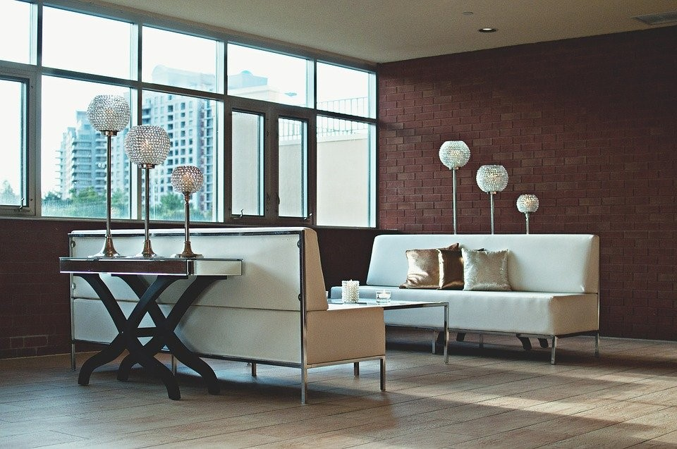 Apartment, Living Room, Brick Wall, Contemporary, Couch